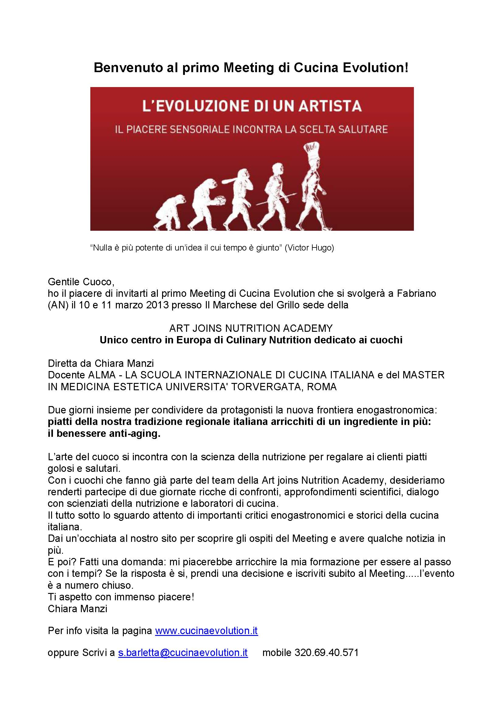 Invito al primo Meeting di Cucina Evolution. 10-11 Marzo- Fabriano